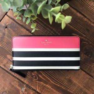 Kate Spade, Pink/Black/White Stripes Wallet